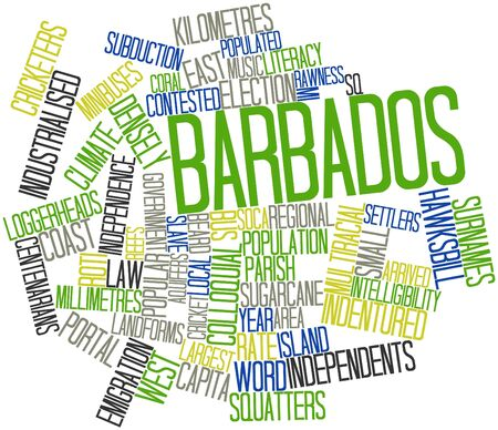 originate: Abstract word cloud for Barbados with related tags and terms