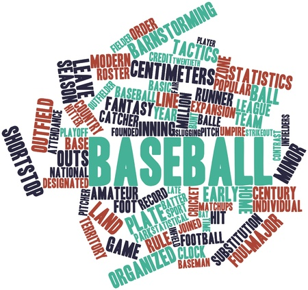 bunt: Abstract word cloud for Baseball with related tags and terms Stock Photo