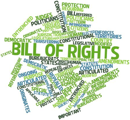 ongoing: Abstract word cloud for Bill of rights with related tags and terms