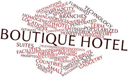 boutique hotel: Nube palabra abstracta para un hotel boutique con marcas y t�rminos relacionados