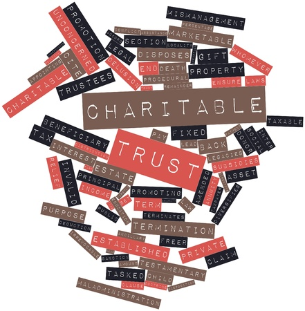 charitable: Abstract word cloud for Charitable trust with related tags and terms Stock Photo