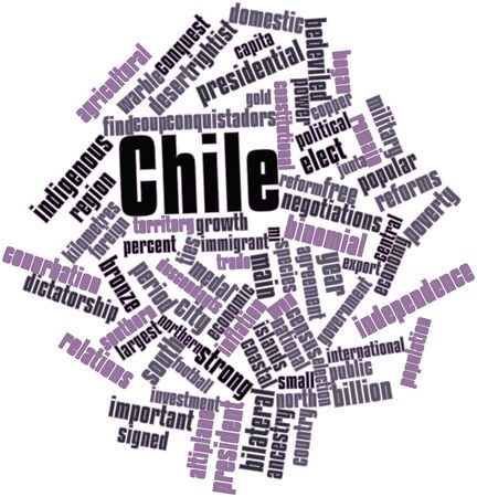 insurrection: Abstract word cloud for Chile with related tags and terms Stock Photo