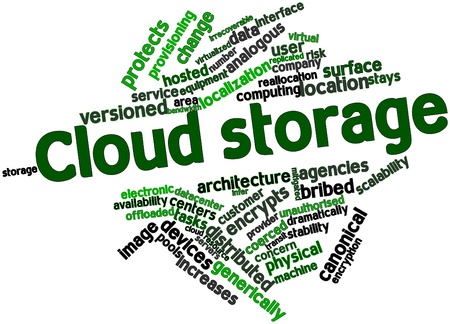 Abstract word cloud for Cloud storage with related tags and terms
