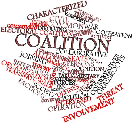 coalition: Abstract word cloud for Coalition with related tags and terms Stock Photo