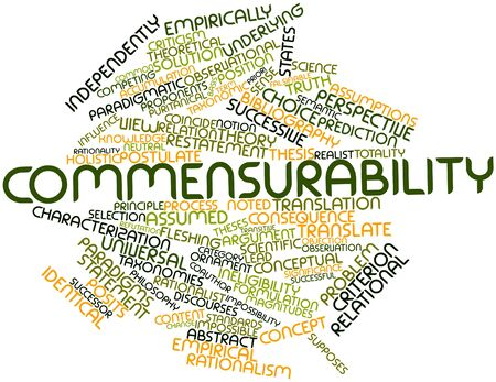 Abstract word cloud for Commensurability with related tags and terms Stock Photo - 16739246
