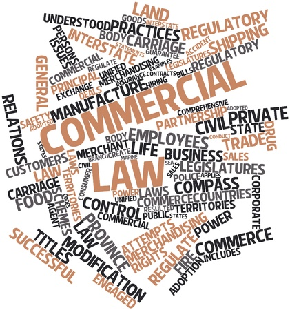 Abstract word cloud for Commercial law with related tags and terms