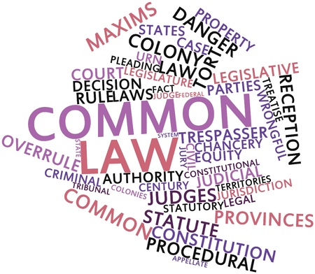 settled: Abstract word cloud for Common law with related tags and terms Stock Photo