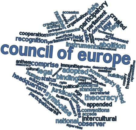 comprise: Abstract word cloud for Council of Europe with related tags and terms Stock Photo