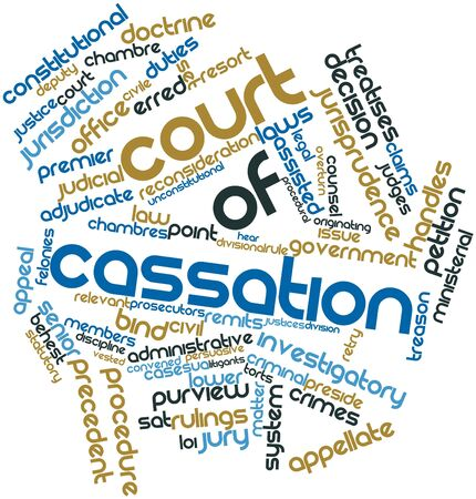 admitted: Abstract word cloud for Court of Cassation with related tags and terms Stock Photo