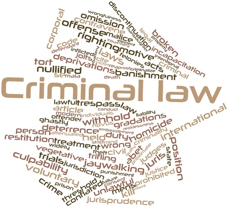 intent: Abstract word cloud for Criminal law with related tags and terms