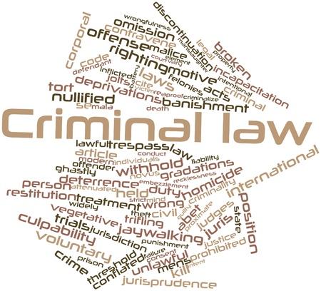 derecho penal: Nube palabra abstracta del derecho penal con las etiquetas y términos relacionados