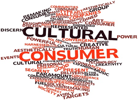 delivers: Abstract word cloud for Cultural consumer with related tags and terms Stock Photo