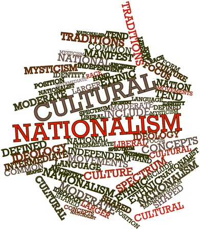 identidad cultural: Nube palabra abstracta para el nacionalismo cultural con etiquetas y términos relacionados