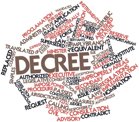 decree: Abstract word cloud for Decree with related tags and terms