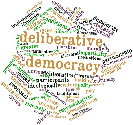 populist: Abstract word cloud for Deliberative democracy with related tags and terms