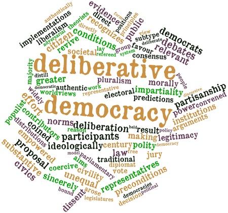 democracia: Nube palabra abstracta para la democracia deliberativa con etiquetas y términos relacionados Foto de archivo