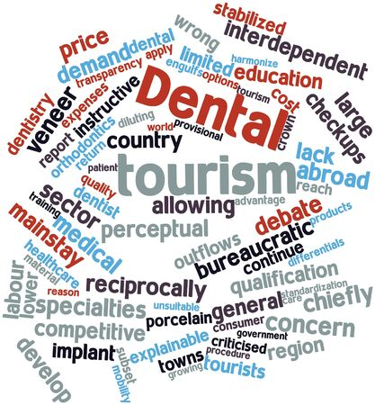 programmes: Abstract word cloud for Dental tourism with related tags and terms Stock Photo