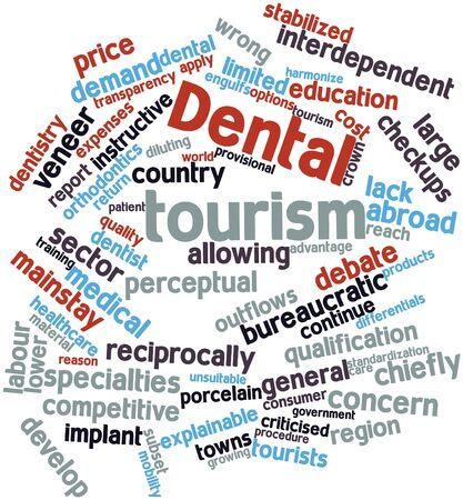 provisional: Nube palabra abstracta para el turismo dental con etiquetas y t�rminos relacionados