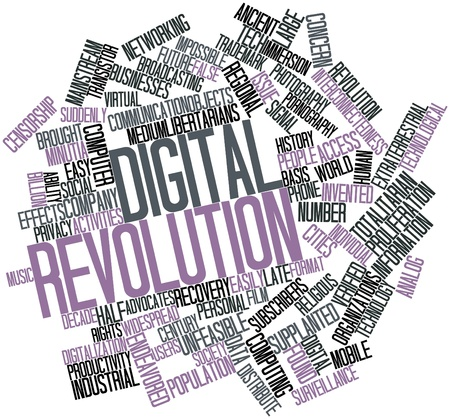 totalitarian: Abstract word cloud for Digital Revolution with related tags and terms