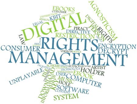 rights: Abstract word cloud for Digital rights management with related tags and terms Stock Photo