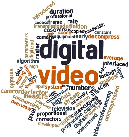 uncompressed: Abstract word cloud for Digital video with related tags and terms