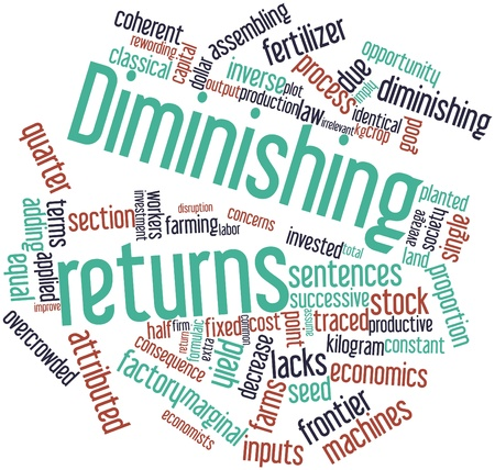 kilograms: Abstract word cloud for Diminishing returns with related tags and terms Stock Photo