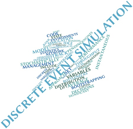 current events: Abstract word cloud for Discrete event simulation with related tags and terms