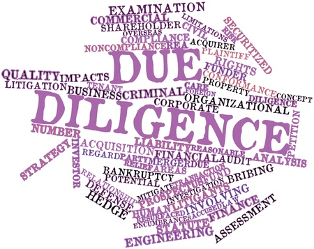 Abstract word cloud for Due diligence with related tags and terms