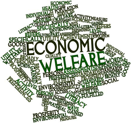 Abstract word cloud for Economic welfare with related tags and terms photo