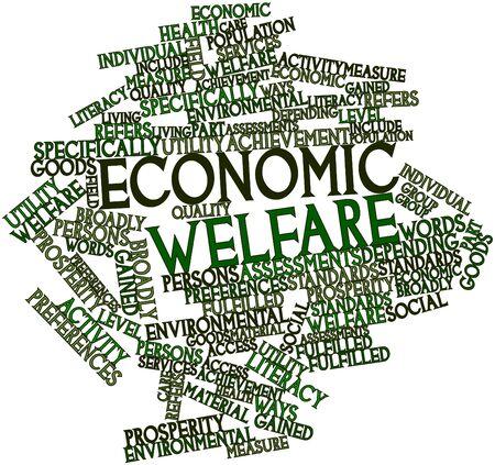 buen vivir: Nube palabra abstracta para el bienestar económico con las etiquetas y términos relacionados Foto de archivo