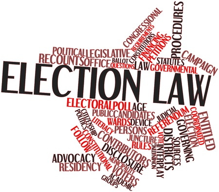 Abstract word cloud for Election law with related tags and terms photo