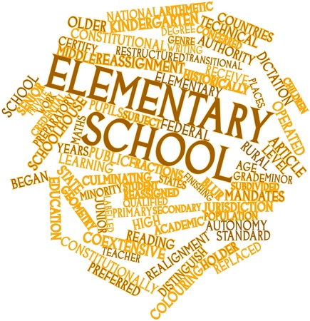 subdivided: Abstract word cloud for Elementary school with related tags and terms