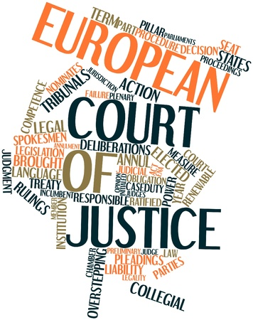 invents: Abstract word cloud for European Court of Justice with related tags and terms Stock Photo