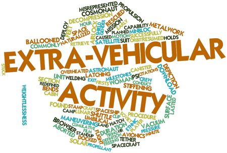 citations: Abstract word cloud for Extra-vehicular activity with related tags and terms Stock Photo