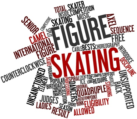 edge of the ice: Abstract word cloud for Figure skating with related tags and terms Stock Photo