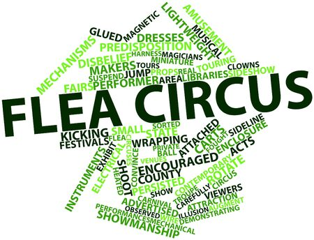 glued: Abstract word cloud for Flea circus with related tags and terms