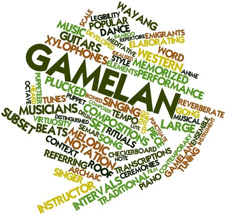 Abstract word cloud for Gamelan with related tags and terms Stock Photo - 16739251