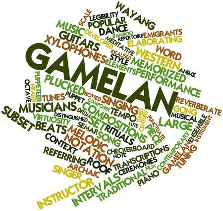 emigranti: Word cloud astratto per Gamelan con tag correlati e termini Archivio Fotografico
