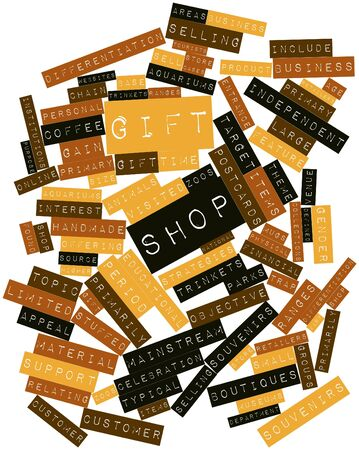souvenirs: Abstract word cloud for Gift shop with related tags and terms Stock Photo