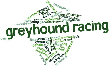 rages: Abstract word cloud for Greyhound racing with related tags and terms Stock Photo