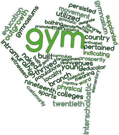 educators: Resumen nube de palabras para Gym con las etiquetas y términos relacionados Foto de archivo