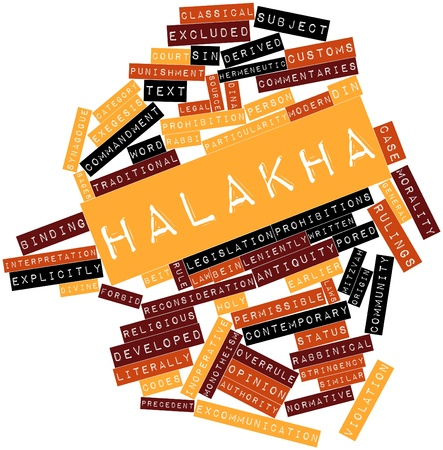 exceptions: Abstract word cloud for Halakha with related tags and terms Stock Photo