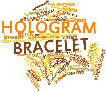 placebo: Abstract word cloud for Hologram bracelet with related tags and terms Stock Photo
