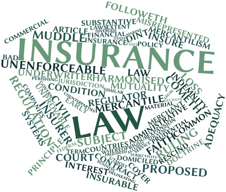 Abstract word cloud for Insurance law with related tags and terms Stock Photo