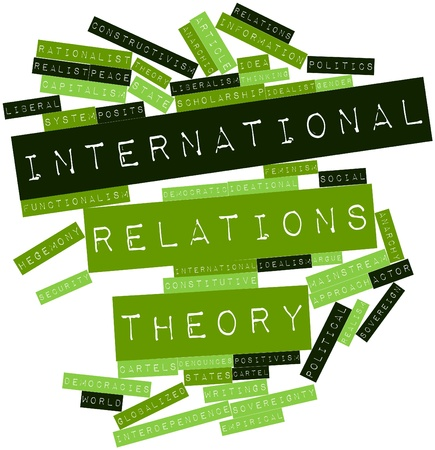 Abstract word cloud for International relations theory with related tags and terms