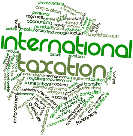 foreign: Abstract word cloud for International taxation with related tags and terms
