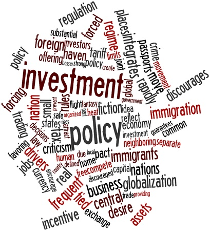 foreign policy: Abstract word cloud for Investment policy with related tags and terms