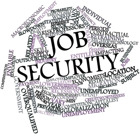 security laws: Abstract word cloud for Job security with related tags and terms