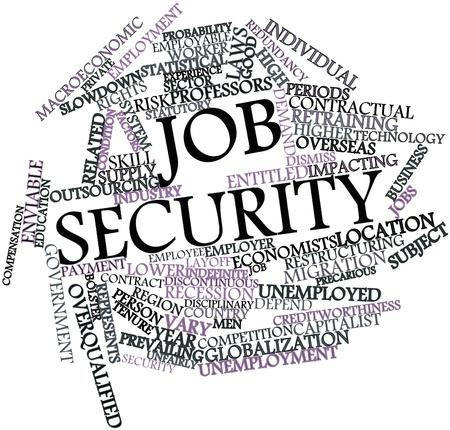 seguridad laboral: Nube palabra abstracta para seguridad en el empleo con las etiquetas y t�rminos relacionados