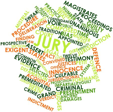 defamation: Abstract word cloud for Jury with related tags and terms